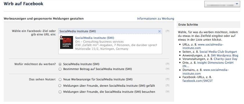 Facebook Werbeanzeigen erstellen - Schritt 2
