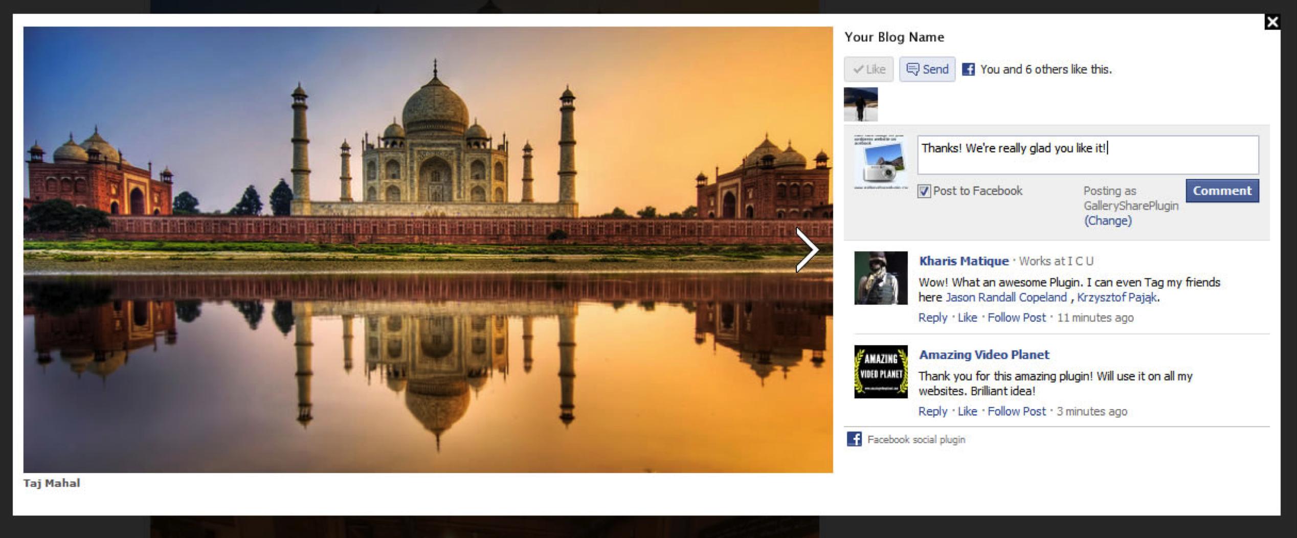 Beispiel des kostenlosen Gallery Share-Plugins