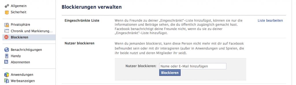 Blockierungseinstellungen von Nutzern auf Facebook