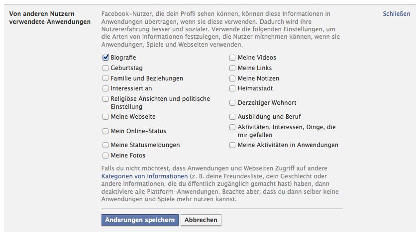 Berechtigung von Anwendungen auf Facebook