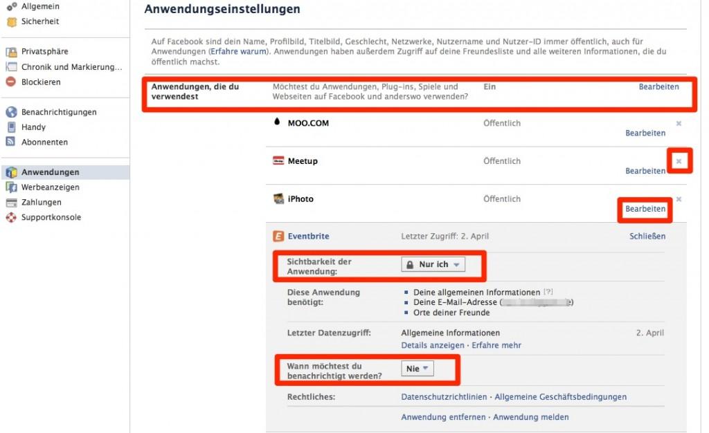Anwendungseinstellungen auf Facebook
