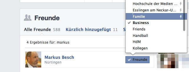 Listenfunktion bei Facebook